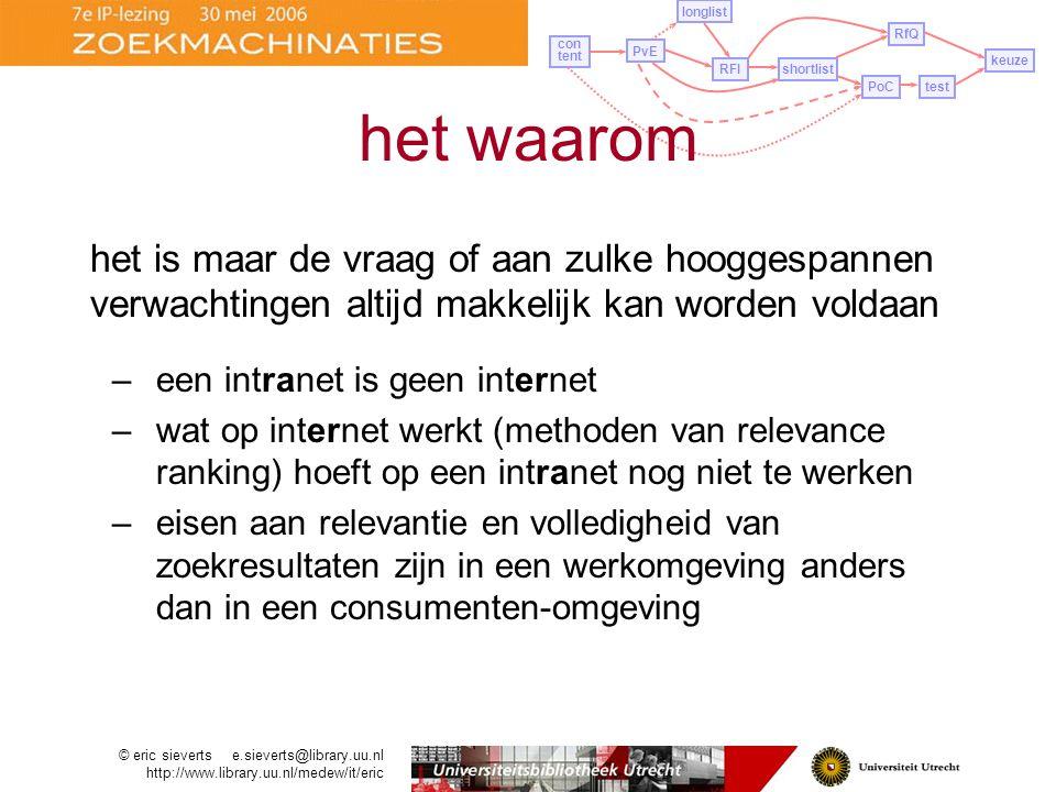 het is maar de vraag of aan zulke hooggespannen verwachtingen altijd makkelijk kan worden voldaan –een intranet is geen internet –wat op internet werkt (methoden van relevance ranking) hoeft op een intranet nog niet te werken –eisen aan relevantie en volledigheid van zoekresultaten zijn in een werkomgeving anders dan in een consumenten-omgeving © eric sieverts e.sieverts@library.uu.nl http://www.library.uu.nl/medew/it/eric PvE longlist con tent RFIshortlist PoCtest RfQ keuze het waarom