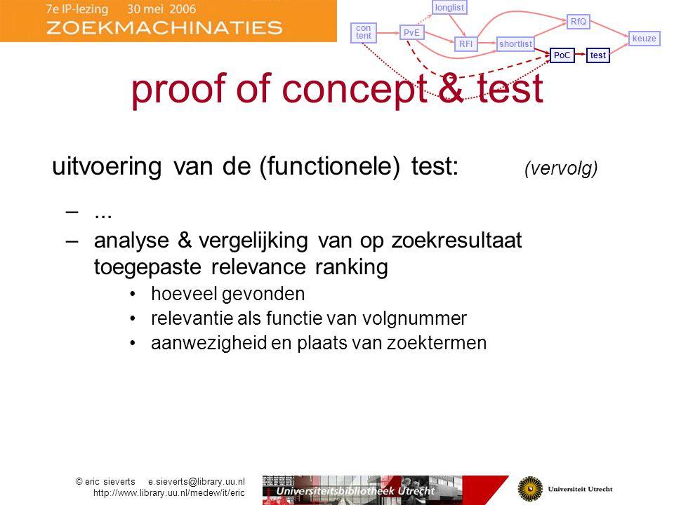 uitvoering van de (functionele) test: (vervolg) –...