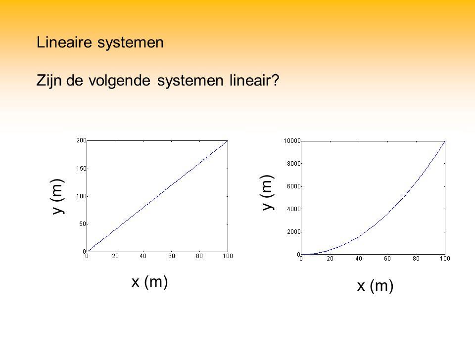 Lineaire systemen Zijn de volgende systemen lineair? x (m) y (m)