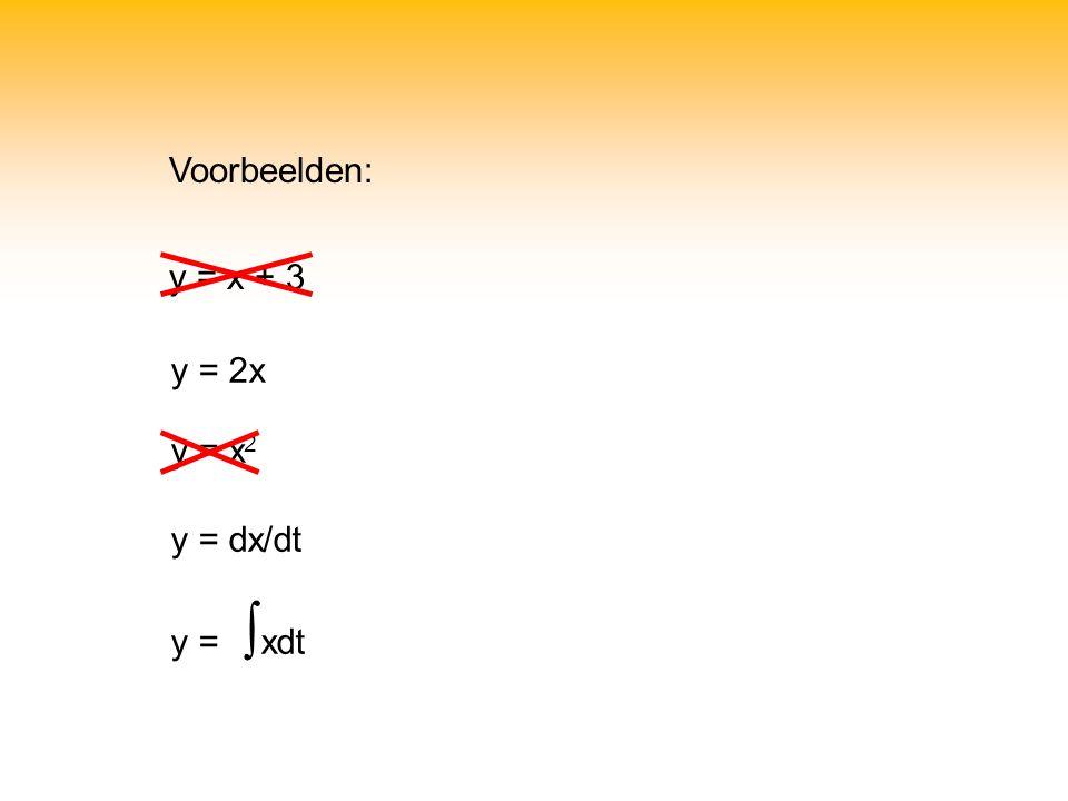 Voorbeelden: y = x + 3 y = 2x y = x 2 y = dx/dt y = ∫ xdt