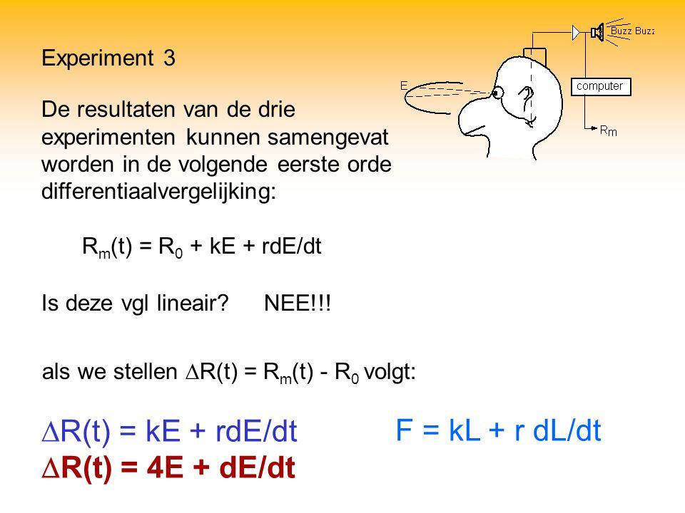 Experiment 3  R(t) = kE + rdE/dt  R(t) = 4E + dE/dt De resultaten van de drie experimenten kunnen samengevat worden in de volgende eerste orde diffe