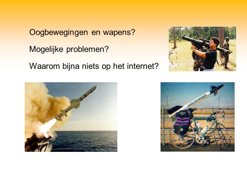 Oogbewegingen en wapens? Mogelijke problemen? Waarom bijna niets op het internet?