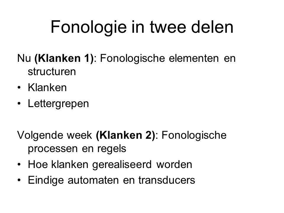 Fonologie in twee delen Nu (Klanken 1): Fonologische elementen en structuren Klanken Lettergrepen Volgende week (Klanken 2): Fonologische processen en regels Hoe klanken gerealiseerd worden Eindige automaten en transducers