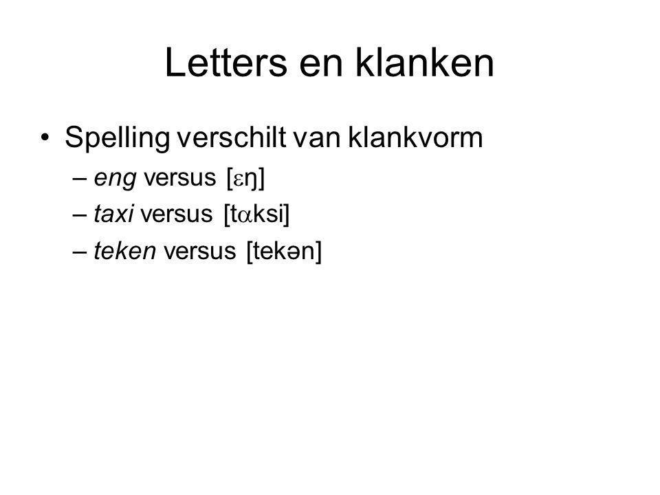 Letters en klanken Spelling verschilt van klankvorm –eng versus [  ŋ] –taxi versus [t  ksi] –teken versus [tekən]