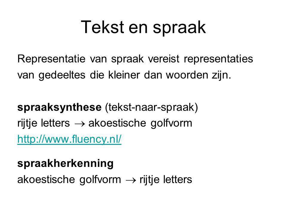 Tekst en spraak Representatie van spraak vereist representaties van gedeeltes die kleiner dan woorden zijn.
