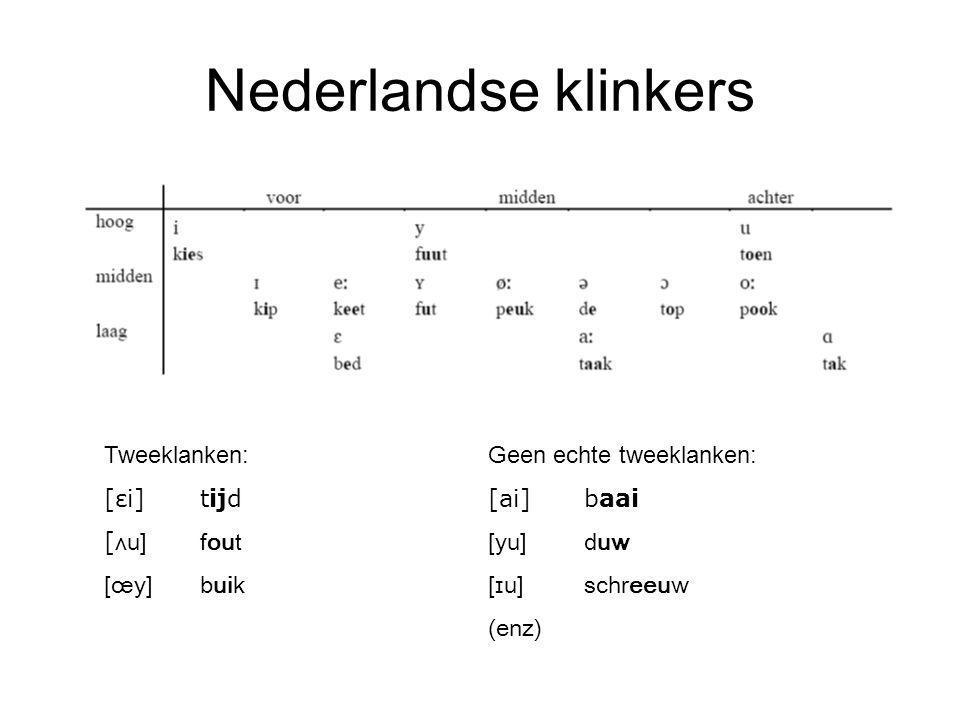 Nederlandse klinkers Tweeklanken:Geen echte tweeklanken: [εi]tijd[ai]baai [ ʌu]fout[yu]duw [œy]buik[ɪu]schreeuw (enz)