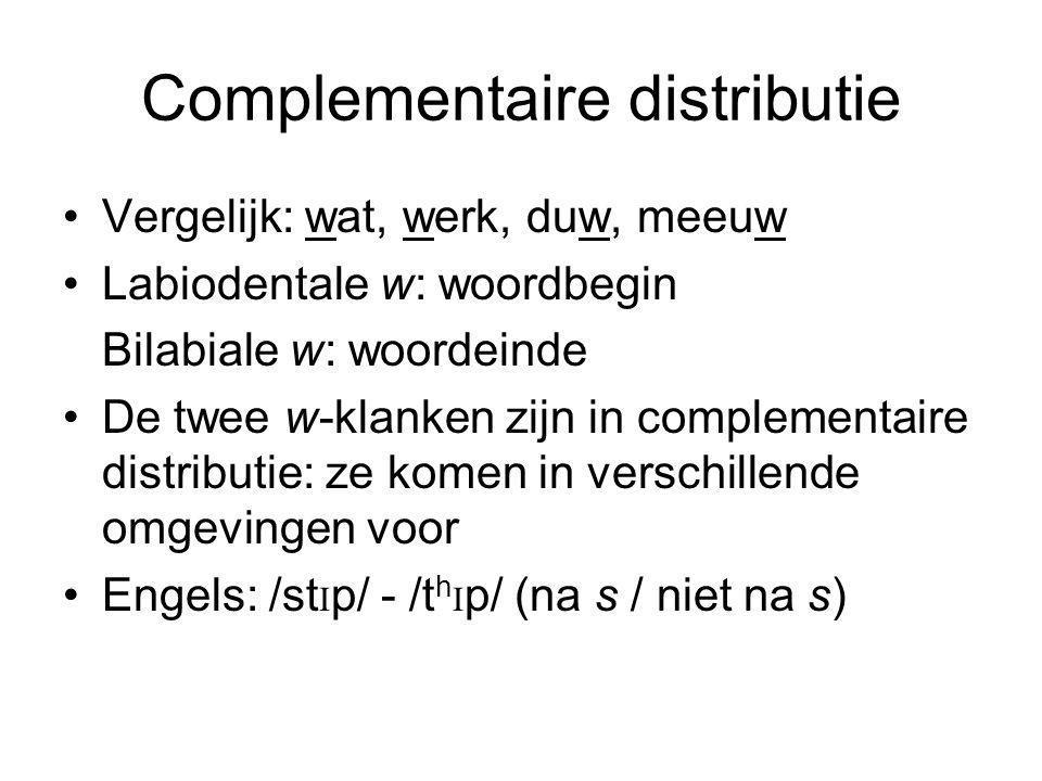 Complementaire distributie Vergelijk: wat, werk, duw, meeuw Labiodentale w: woordbegin Bilabiale w: woordeinde De twee w-klanken zijn in complementaire distributie: ze komen in verschillende omgevingen voor Engels: /st I p/ - /t h I p/ (na s / niet na s)