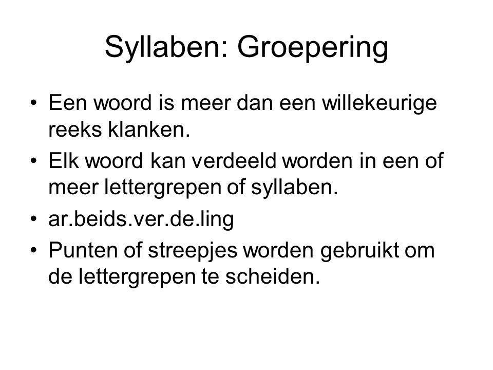 Syllaben: Groepering Een woord is meer dan een willekeurige reeks klanken.