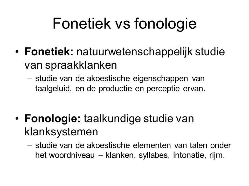 Fonetiek vs fonologie Fonetiek: natuurwetenschappelijk studie van spraakklanken –studie van de akoestische eigenschappen van taalgeluid, en de productie en perceptie ervan.