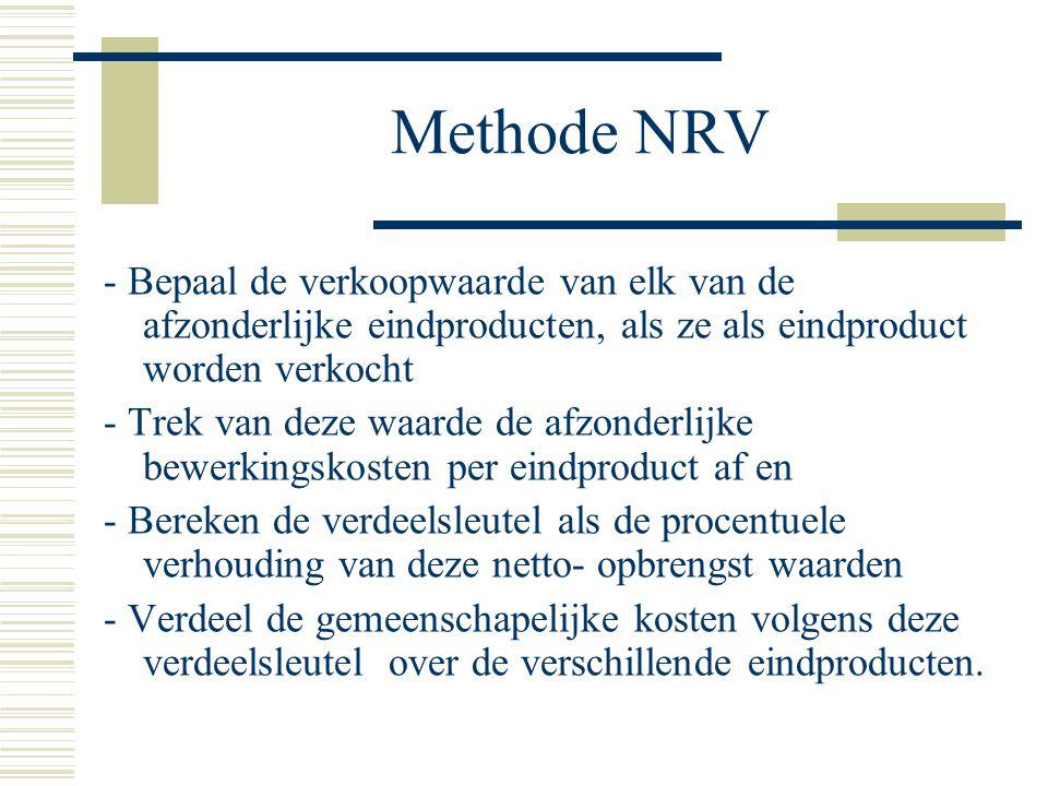 Methode NRV - Bepaal de verkoopwaarde van elk van de afzonderlijke eindproducten, als ze als eindproduct worden verkocht - Trek van deze waarde de afzonderlijke bewerkingskosten per eindproduct af en - Bereken de verdeelsleutel als de procentuele verhouding van deze netto- opbrengst waarden - Verdeel de gemeenschapelijke kosten volgens deze verdeelsleutel over de verschillende eindproducten.