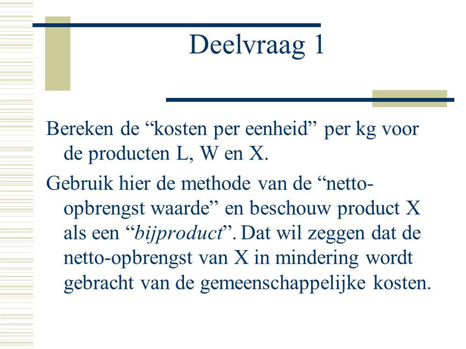 Deelvraag 1 Bereken de kosten per eenheid per kg voor de producten L, W en X.
