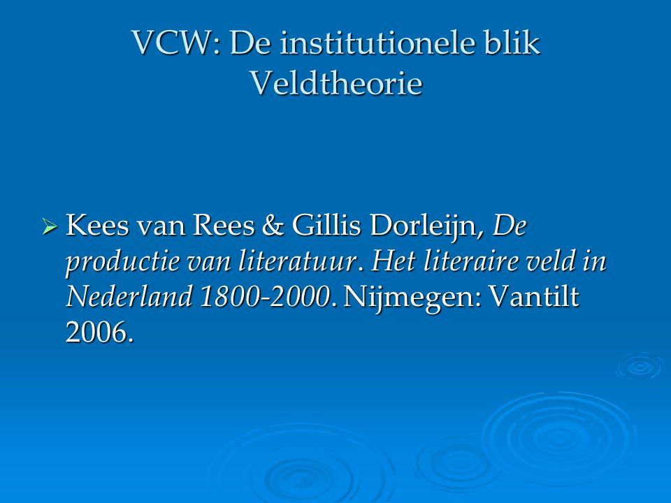 VCW: De institutionele blik Veldtheorie Pierre Bourdieu Definitie veld  'de ruimte van culturele plaatsbepalingen of positioneringen' (p.