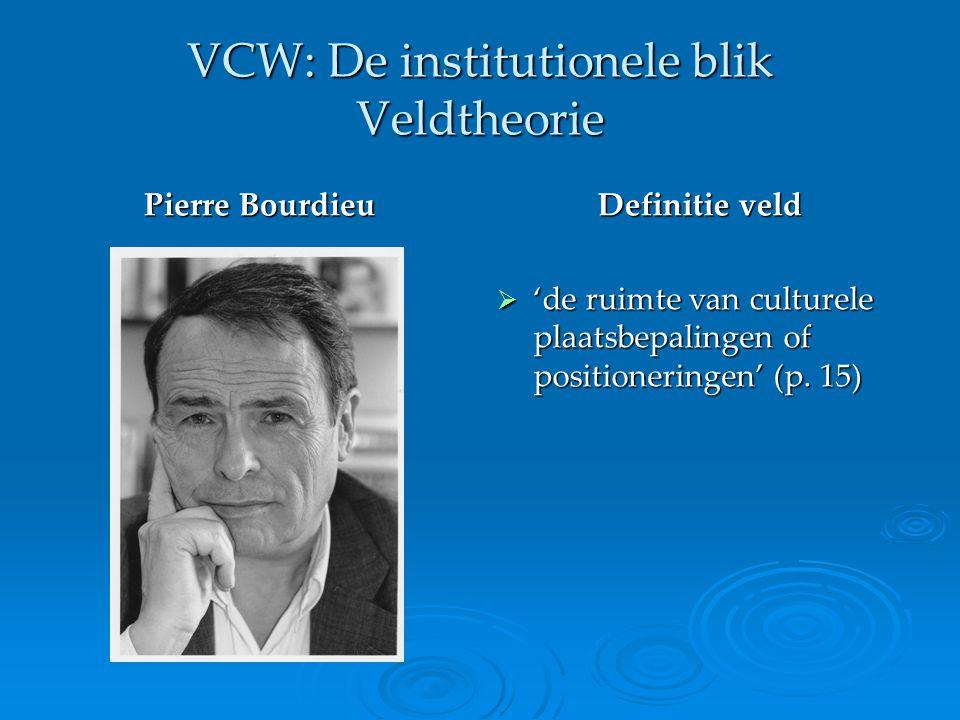 VCW: De institutionele blik Veldtheorie 'Het culturele veld omvat de verzameling organisaties of groepen actoren die zich bezighouden met de productie, distributie, promotie en consumptie van symbolische goederen en praktijken op het terrein van cultuur, kunst, religie enzovoort.' (p.16)