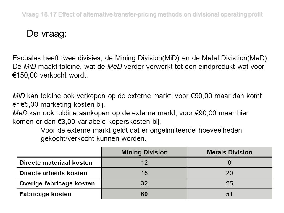 Vraag 18.17 Effect of alternative transfer-pricing methods on divisional operating profit De vraag: MiD kan toldine ook verkopen op de externe markt, voor €90,00 maar dan komt er €5,00 marketing kosten bij.
