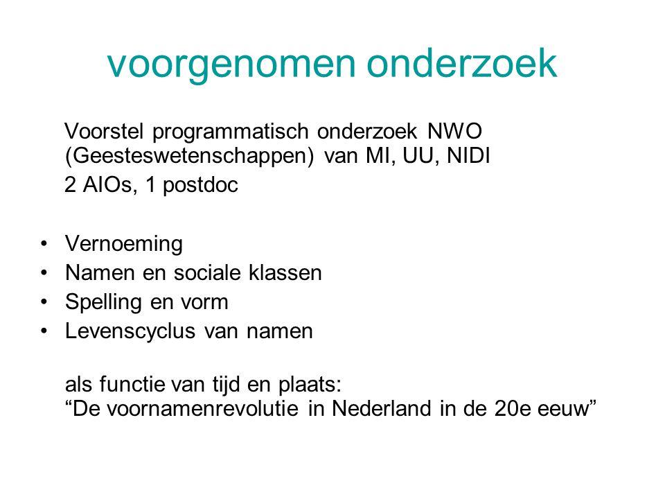 voorgenomen onderzoek Voorstel programmatisch onderzoek NWO (Geesteswetenschappen) van MI, UU, NIDI 2 AIOs, 1 postdoc Vernoeming Namen en sociale klassen Spelling en vorm Levenscyclus van namen als functie van tijd en plaats: De voornamenrevolutie in Nederland in de 20e eeuw