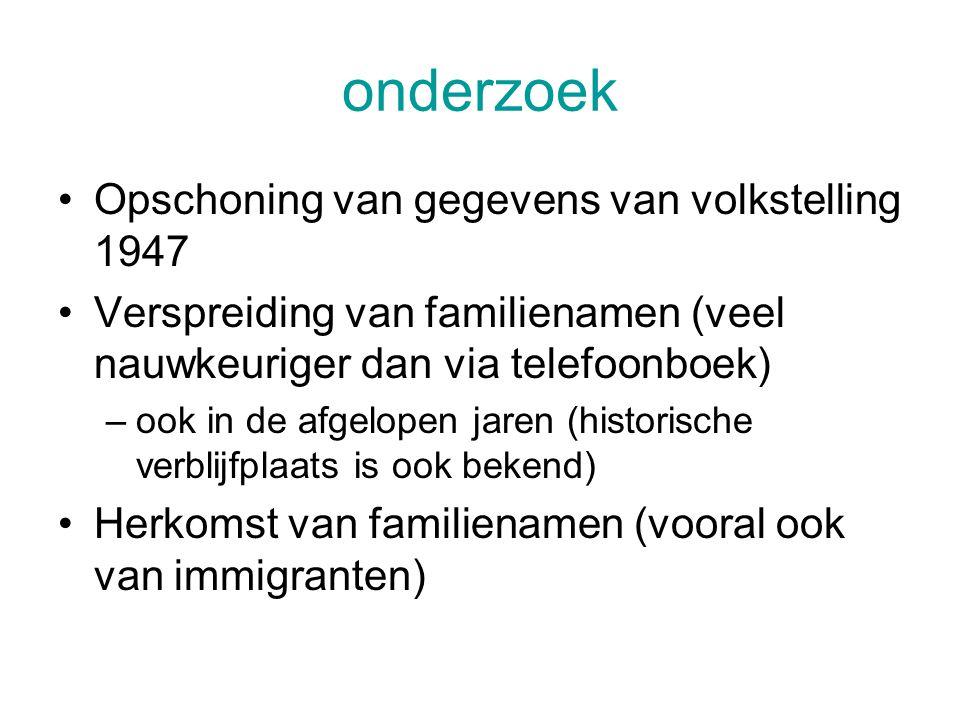 onderzoek Opschoning van gegevens van volkstelling 1947 Verspreiding van familienamen (veel nauwkeuriger dan via telefoonboek) –ook in de afgelopen jaren (historische verblijfplaats is ook bekend) Herkomst van familienamen (vooral ook van immigranten)