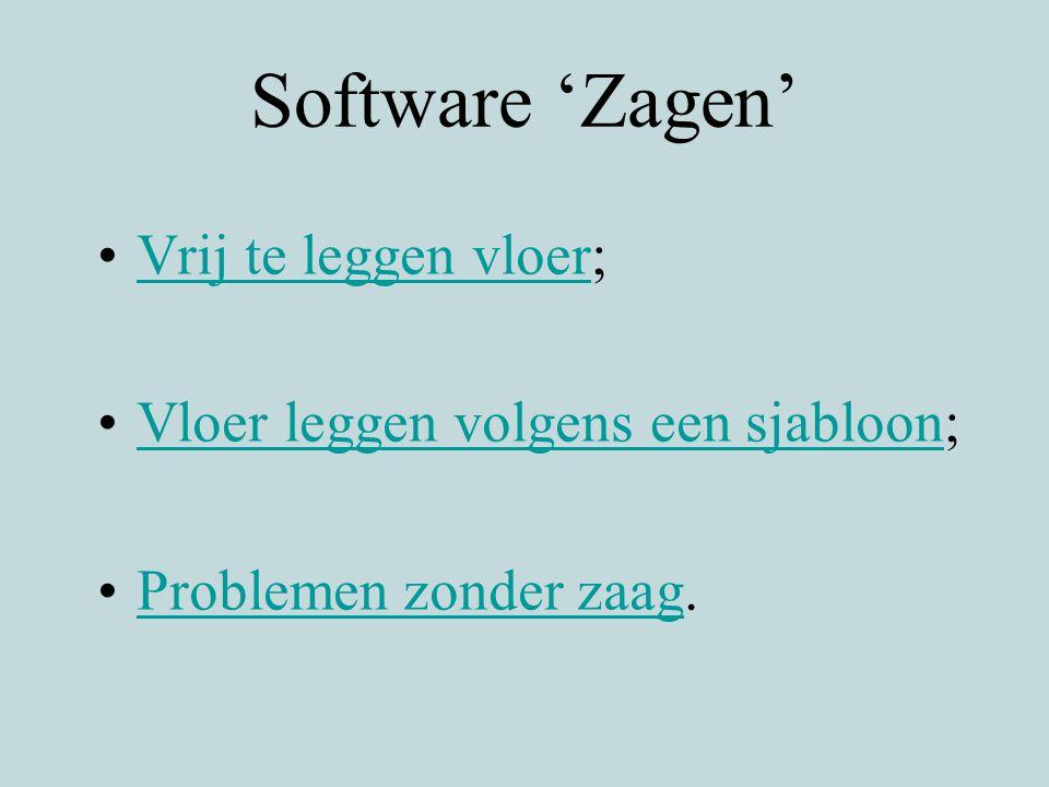 Software 'Zagen' Vrij te leggen vloer;Vrij te leggen vloer Vloer leggen volgens een sjabloon;Vloer leggen volgens een sjabloon Problemen zonder zaag.P