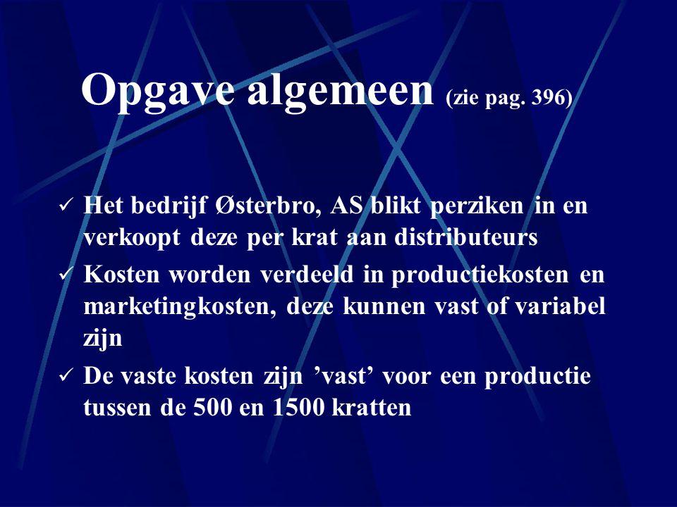 Opgave algemeen (zie pag. 396) Het bedrijf Østerbro, AS blikt perziken in en verkoopt deze per krat aan distributeurs Kosten worden verdeeld in produc