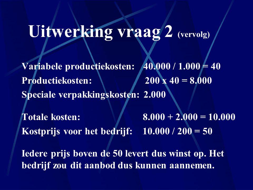 Uitwerking vraag 2 (vervolg) Variabele productiekosten: 40.000 / 1.000 = 40 Productiekosten: 200 x 40 = 8.000 Speciale verpakkingskosten: 2.000 Totale