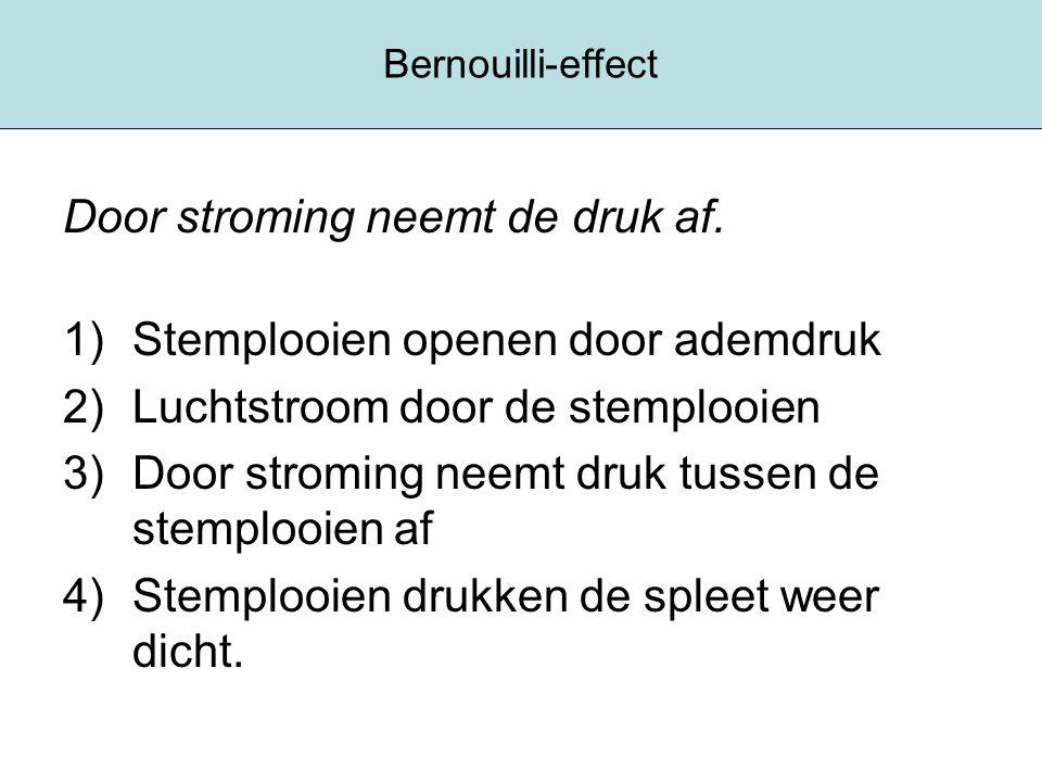 Bernouilli-effect Door stroming neemt de druk af. 1)Stemplooien openen door ademdruk 2)Luchtstroom door de stemplooien 3)Door stroming neemt druk tuss
