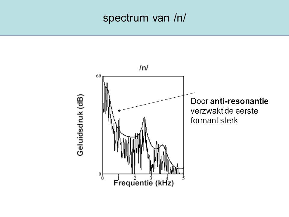 spectrum van /n/ Door anti-resonantie verzwakt de eerste formant sterk