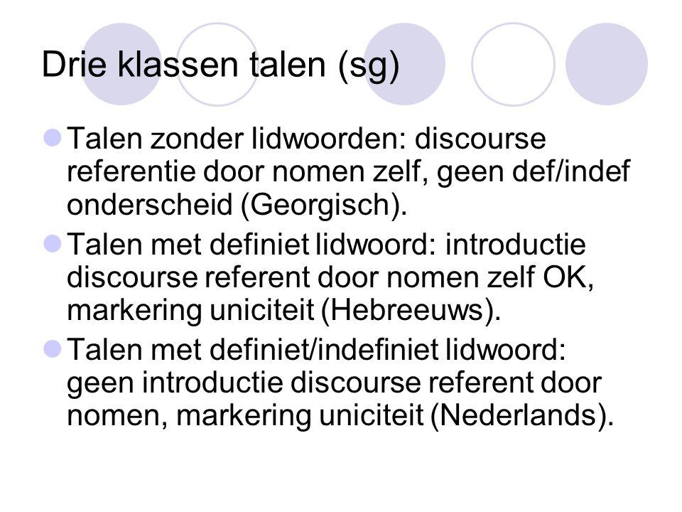 Drie klassen talen (sg) Talen zonder lidwoorden: discourse referentie door nomen zelf, geen def/indef onderscheid (Georgisch).