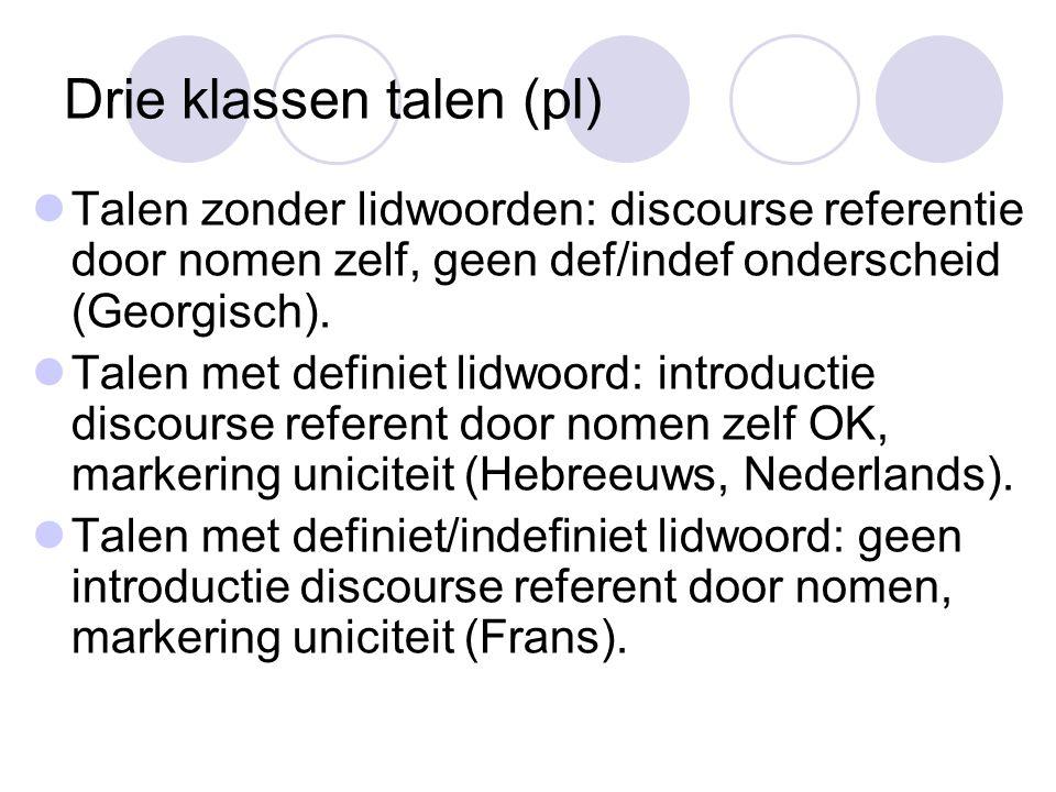 Drie klassen talen (pl) Talen zonder lidwoorden: discourse referentie door nomen zelf, geen def/indef onderscheid (Georgisch).