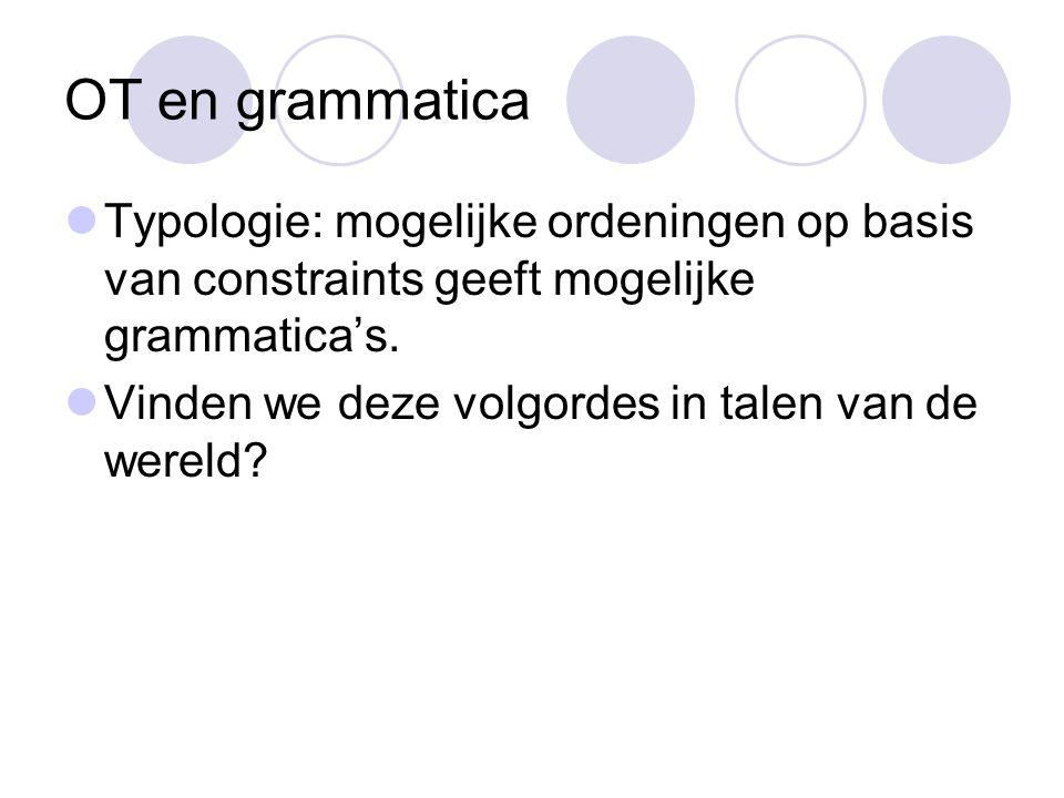 OT en grammatica Typologie: mogelijke ordeningen op basis van constraints geeft mogelijke grammatica's.