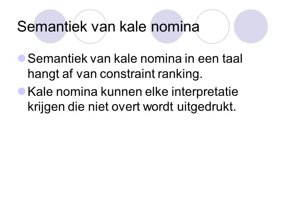 Semantiek van kale nomina Semantiek van kale nomina in een taal hangt af van constraint ranking.