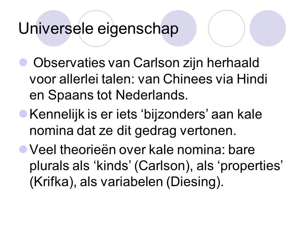 Universele eigenschap Observaties van Carlson zijn herhaald voor allerlei talen: van Chinees via Hindi en Spaans tot Nederlands.