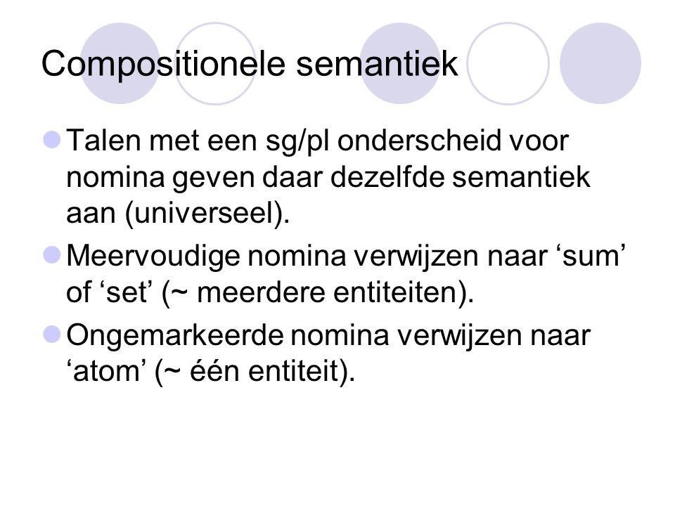 Compositionele semantiek Talen met een sg/pl onderscheid voor nomina geven daar dezelfde semantiek aan (universeel).