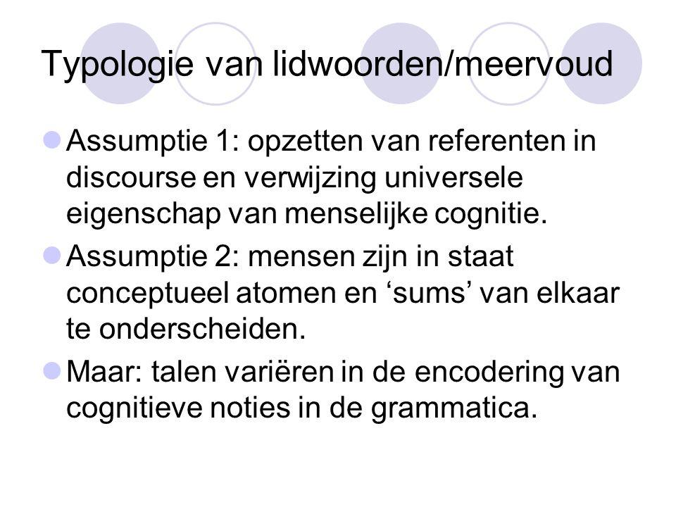 Typologie van lidwoorden/meervoud Assumptie 1: opzetten van referenten in discourse en verwijzing universele eigenschap van menselijke cognitie.