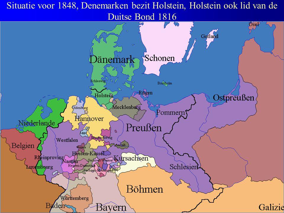 Situatie voor 1848, Denemarken bezit Holstein, Holstein ook lid van de Duitse Bond 1816