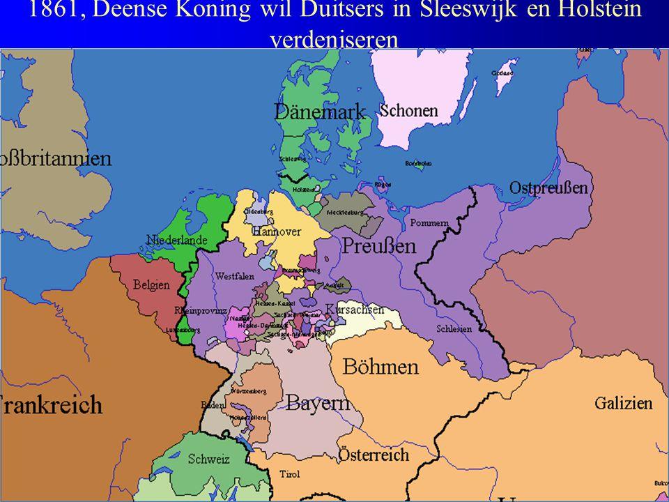1861, Deense Koning wil Duitsers in Sleeswijk en Holstein verdeniseren