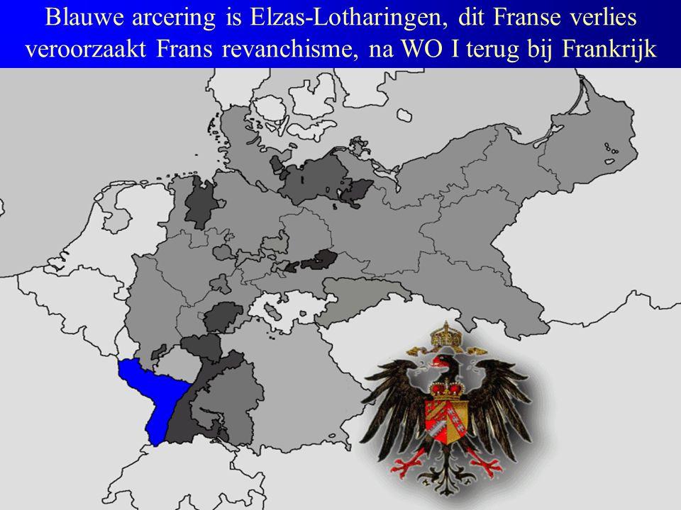 Blauwe arcering is Elzas-Lotharingen, dit Franse verlies veroorzaakt Frans revanchisme, na WO I terug bij Frankrijk