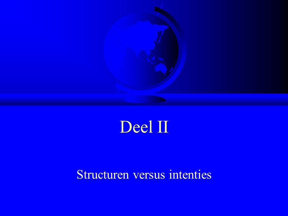 Deel II Structuren versus intenties