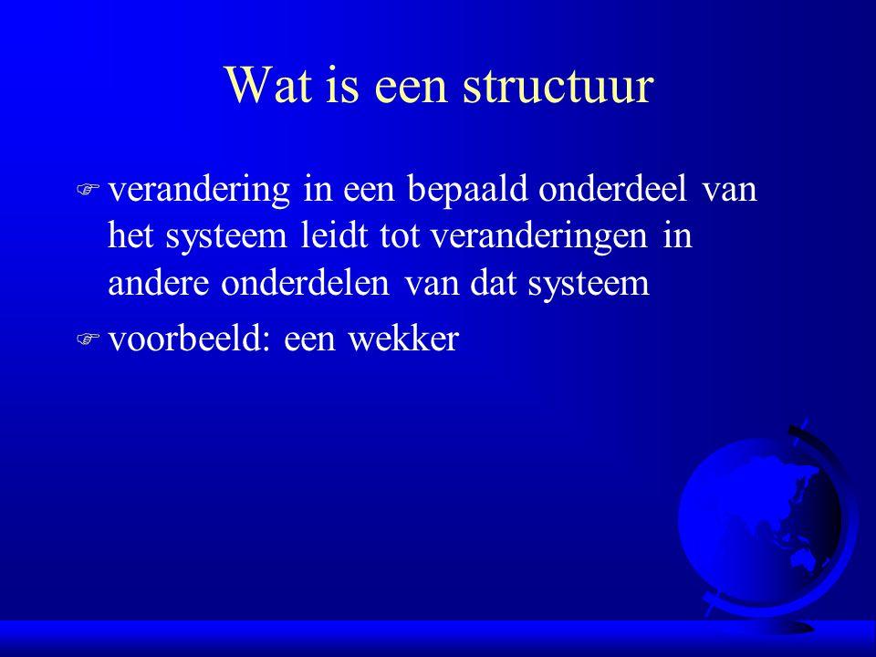 Wat is een structuur F verandering in een bepaald onderdeel van het systeem leidt tot veranderingen in andere onderdelen van dat systeem F voorbeeld: een wekker