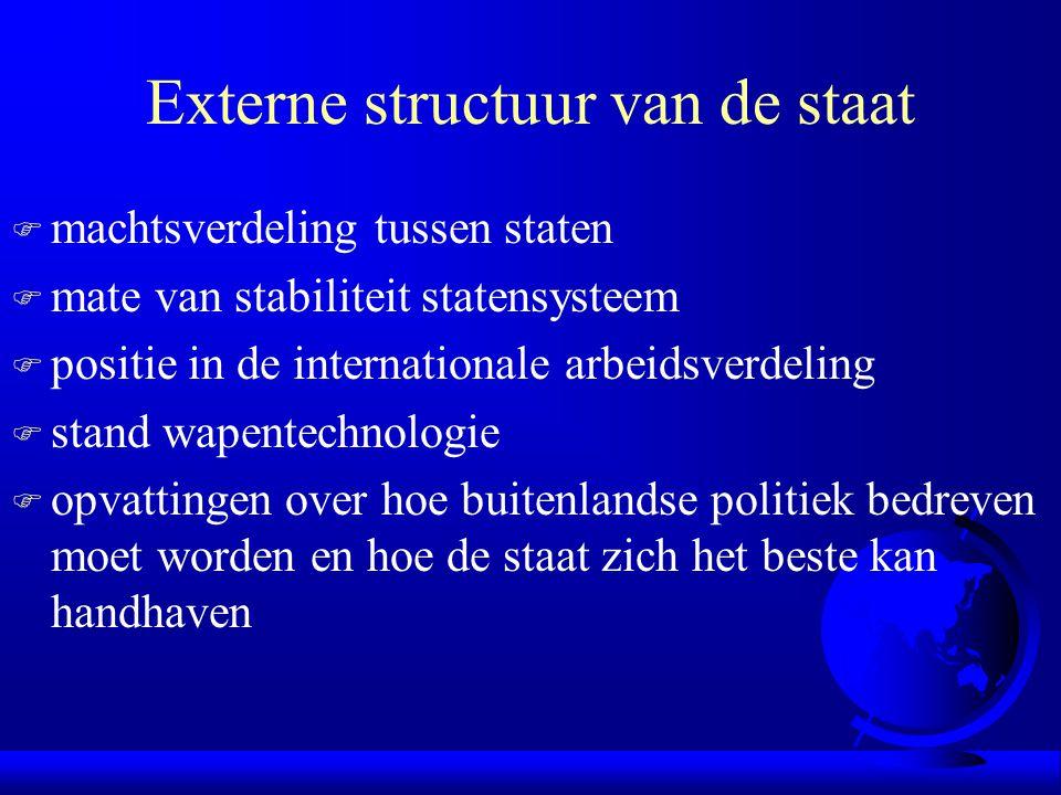 Externe structuur van de staat F machtsverdeling tussen staten F mate van stabiliteit statensysteem F positie in de internationale arbeidsverdeling F
