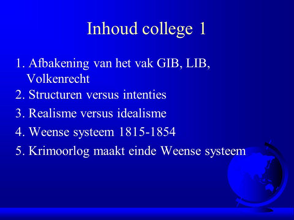 Inhoud college 1 1. Afbakening van het vak GIB, LIB, Volkenrecht 2. Structuren versus intenties 3. Realisme versus idealisme 4. Weense systeem 1815-18