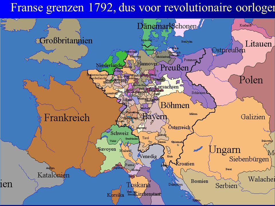 Franse grenzen 1792, dus voor revolutionaire oorlogen