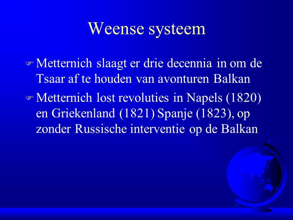 Weense systeem F Metternich slaagt er drie decennia in om de Tsaar af te houden van avonturen Balkan F Metternich lost revoluties in Napels (1820) en Griekenland (1821) Spanje (1823), op zonder Russische interventie op de Balkan