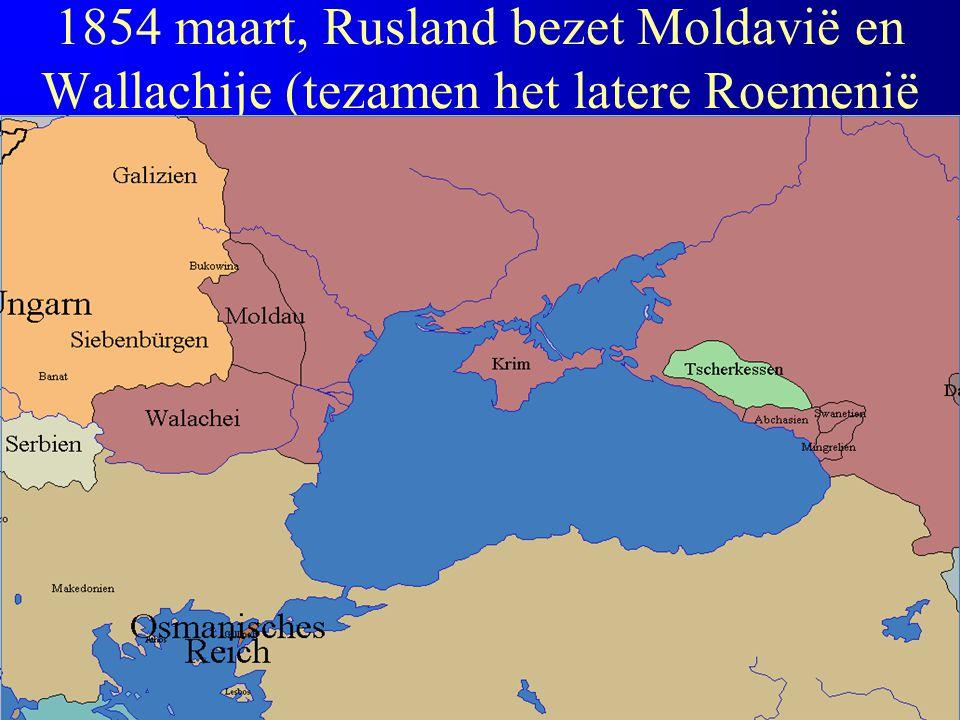 1854 maart, Rusland bezet Moldavië en Wallachije (tezamen het latere Roemenië