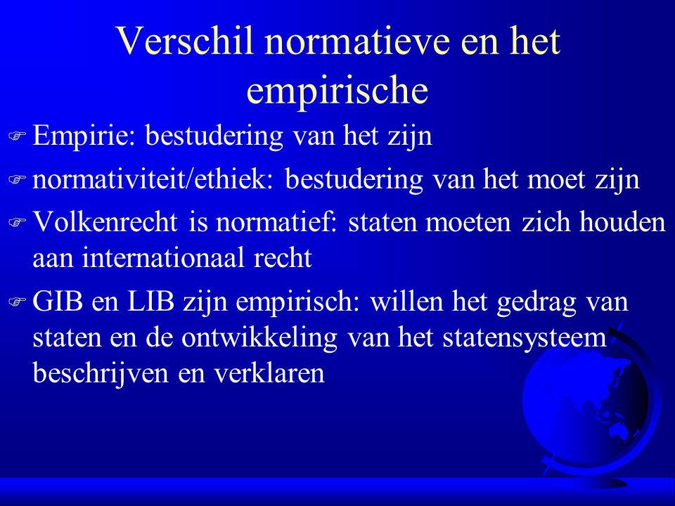 Verschil normatieve en het empirische F Empirie: bestudering van het zijn F normativiteit/ethiek: bestudering van het moet zijn F Volkenrecht is norma