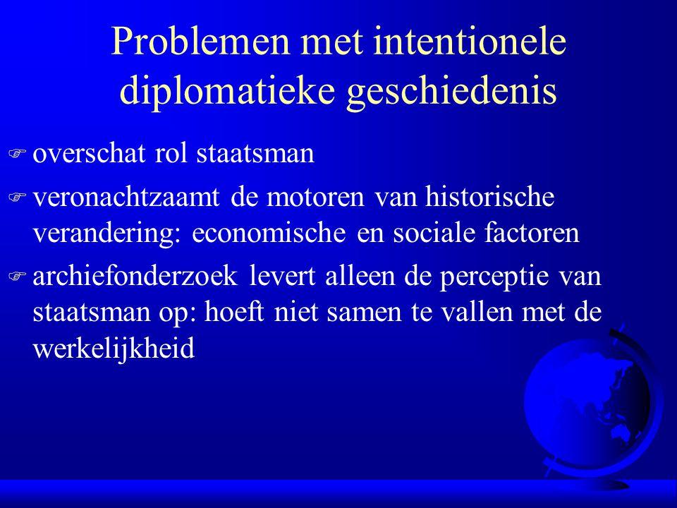 Problemen met intentionele diplomatieke geschiedenis F overschat rol staatsman F veronachtzaamt de motoren van historische verandering: economische en