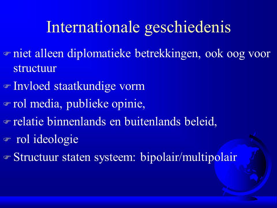 Internationale geschiedenis F niet alleen diplomatieke betrekkingen, ook oog voor structuur F Invloed staatkundige vorm F rol media, publieke opinie, F relatie binnenlands en buitenlands beleid, F rol ideologie F Structuur staten systeem: bipolair/multipolair