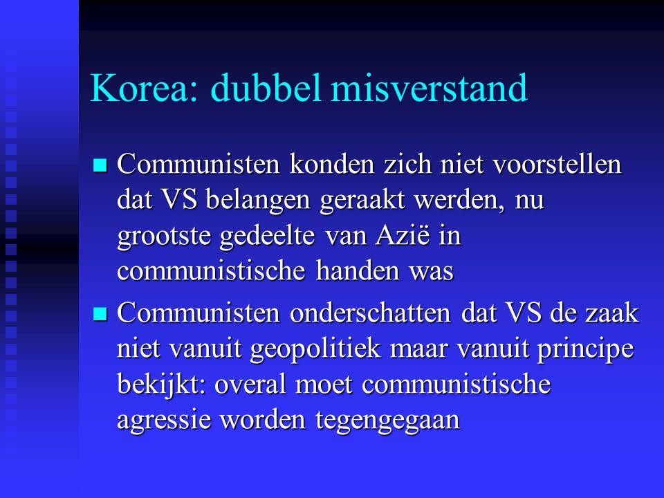 Korea: dubbel misverstand Communisten konden zich niet voorstellen dat VS belangen geraakt werden, nu grootste gedeelte van Azië in communistische handen was Communisten konden zich niet voorstellen dat VS belangen geraakt werden, nu grootste gedeelte van Azië in communistische handen was Communisten onderschatten dat VS de zaak niet vanuit geopolitiek maar vanuit principe bekijkt: overal moet communistische agressie worden tegengegaan Communisten onderschatten dat VS de zaak niet vanuit geopolitiek maar vanuit principe bekijkt: overal moet communistische agressie worden tegengegaan