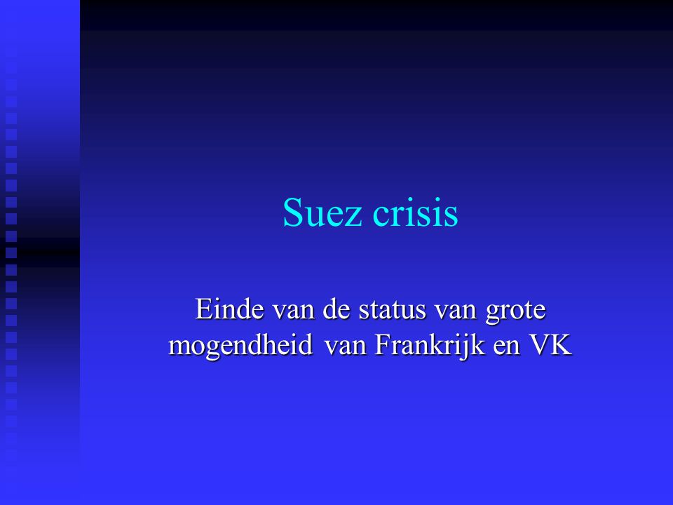 Suez crisis Einde van de status van grote mogendheid van Frankrijk en VK