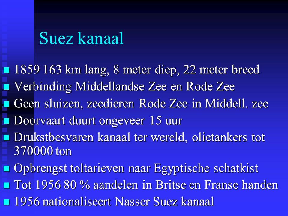 Suez kanaal 1859 163 km lang, 8 meter diep, 22 meter breed 1859 163 km lang, 8 meter diep, 22 meter breed Verbinding Middellandse Zee en Rode Zee Verbinding Middellandse Zee en Rode Zee Geen sluizen, zeedieren Rode Zee in Middell.