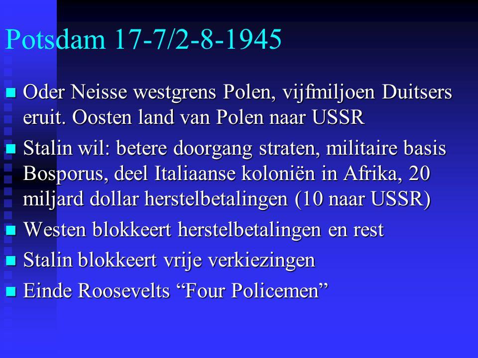 Potsdam 17-7/2-8-1945 Oder Neisse westgrens Polen, vijfmiljoen Duitsers eruit.