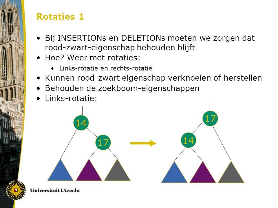 Rotaties 1 Bij INSERTIONs en DELETIONs moeten we zorgen dat rood-zwart-eigenschap behouden blijft Hoe.